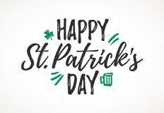 Happy St. Patricks Day greeting card. Happy St. Patrick`s Day greeting card, 17 March Feast of St. Patrick, handdrawn dry brush style lettering Royalty Free Stock Photos
