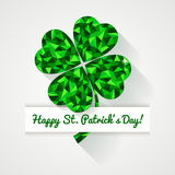 Happy St. Patricks Day! Greeting card with polygonal clover lea Royalty Free Stock Images