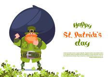 Happy St. Patricks Day Greeting Card Template Background With Leprechaun Holding Big Bag Of Coins. Flat Vector Illustration Vector Illustration
