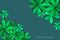 Happy St. Patricks Day Greetings Card. Four and Three Leaf Clover in paper cut style. Space for Text. Floral green Royalty Free Stock Photo