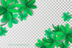 Happy St. Patricks Day Greetings Card. Four and Three Leaf Clover in paper cut style. Space for Text. Floral green. Background. Nature. Seasonal holidays Stock Photography