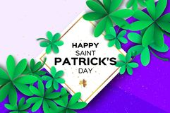 Happy St. Patricks Day Greetings Card. Four and Three Leaf Clover in paper cut style. Space for Text. Floral green Stock Photography