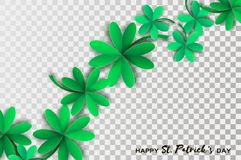 Happy St. Patricks Day Greetings Card. Four and Three Leaf Clover in paper cut style. Space for Text. Floral green Royalty Free Stock Photography