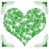 Happy St Patricks Day Heart of Shamrock Leaves Stock Images