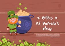 Happy St. Patricks Day Holiday Poster Or Greeting Card Background Leprechaun Man Over Big Pot With Golden Coins Stock Images