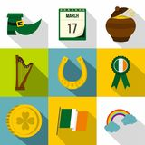 Happy St Patricks day icon set, flat style Royalty Free Stock Images