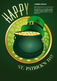 Happy St. Patricks Day. Invitation poster. With magic pot full of gold and leprechaun hat on a green background. Vector illustration royalty free illustration