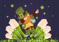 Happy St. Patricks Day Irish Festival Holiday With Green Leprechaun Over Glasses Of Beer. Flat Vector Illustration Stock Images