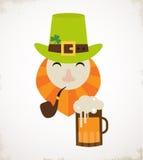 Happy St. Patricks day. Irish man with beer, St. Patricks Day design Stock Photography