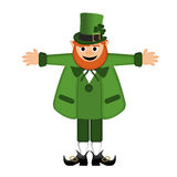 Happy St Patricks Day Leprechaun Arm Stretched Stock Images