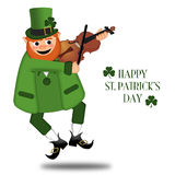 Happy St Patricks Day Leprechaun Fiddler Royalty Free Stock Images