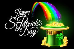 Happy St Patricks Day Leprechaun Hat Rainbow Sign. A Happy St Patricks Day sign background with leprechaun green shamrock hat full of gold coins at the end of a Royalty Free Stock Image