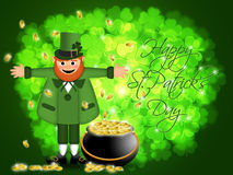 Happy St Patricks Day Leprechaun Pot of Gold Stock Photo