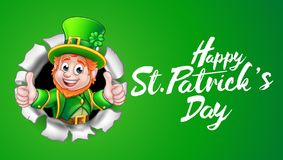 Happy St Patricks Day Leprechaun Thumbs Up. A cute Leprechaun cartoon character breaking through the background and giving a thumbs up with Happy St Patricks Day Stock Image