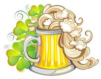 Happy St Patricks day party poster invite. Happy St Patricks day card with beer and lucky clover royalty free illustration