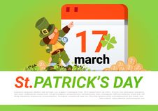 Happy St. Patricks Day Poster Green Leprechaun Over Calendar With 17 March. Flat Vector Illustration Stock Image