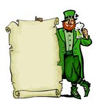 Happy St Patricks Day poster. Leprechaun character holding traditional cold green beer mug and old paper scroll with. Empty space for text . Hand drawn vector stock illustration