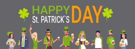 Happy St. Patricks Day Poster With People Wearing Traditional Green Irish Clothes And Drinking Beer. Flat Vector Illustration Stock Images