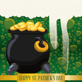 Happy st patricks day pot gold coins bubbles beer background Royalty Free Stock Photo