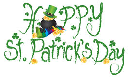 Happy St Patricks Day Pot of Gold Grunge Text Vector Stock Photos