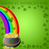 Happy St Patricks Day Pot Of Gold End Of Rainbow Stock Photo