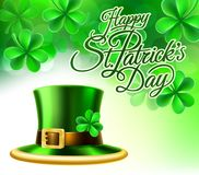 Happy St Patricks Day Leprechaun Hat Shamrock Sign. A Happy St Patricks Day shamrock clover leaf background sign with a green leprechaun hat Stock Photography