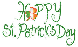 Happy St Patricks Day Shamrock Grunge Text Vector Stock Photo