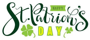 Happy St. Patricks day text for greeting card. Isolated on white vector illustration Stock Image