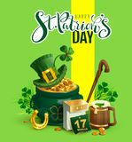 Happy St. Patricks Day text greeting card. Patrick`s accessories festive composition. Pot of gold, green hat, clover leaf, horses. Hoe, beer and calendar. Vector Royalty Free Stock Photo