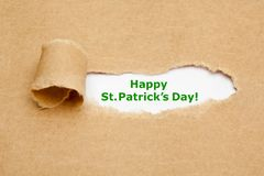 Happy St.Patricks Day Torn Paper Stock Photography