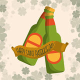 happy st patricks day two bottle beer clover background Royalty Free Stock Image