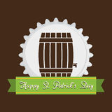 Happy st patricks day wooden barrel beer brown background Stock Photo