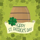 Happy st patricks day wooden barrel beer clover background Royalty Free Stock Photo