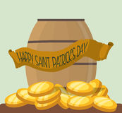 Happy st patricks day wooden barrel gold coins Royalty Free Stock Photo