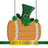 Happy st patricks day wooden barrel hat and clover hanging Royalty Free Stock Images