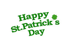 Happy St Patricks Text with Clover Graphic Isolated Royalty Free Stock Image