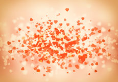 Happy St Valentine day bokeh background. With hearts and smooth elements Royalty Free Stock Photo