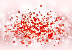 Happy St Valentine day bokeh background. With hearts and smooth elements Stock Image