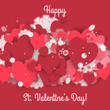 Happy St. Valentine's Day! Abstract background with ribbon and flying snowflakes and hearts to the Day of St. Valentine. Royalty Free Stock Photo