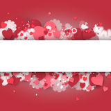 Happy St. Valentine's Day! Abstract background with ribbon and flying snowflakes and hearts to the Day of St. Valentine. Stock Photography