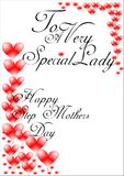 Happy stepmothers day. Greetings for happy stepmothers day on white with red hearts Royalty Free Stock Image