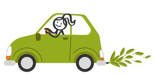 Happy stick figure woman smiling and driving small green eco friendly car with green leaves instead of exhaust fumes. Isolated on white background Stock Photos