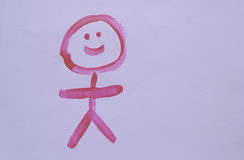 Happy stick person. Pink stick figure painted on a white background stock photos