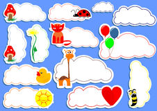 Happy stickers. Happy sticker set with different cartoons Royalty Free Stock Image