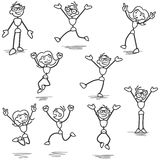 Happy stickman jumping celebrating cheering Royalty Free Stock Photo