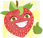 Happy Strawberry doing thumbs up.  Stock Photos