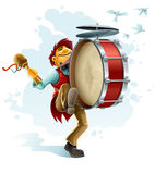 Happy street musician playing drum. Illustration isolated white background royalty free illustration
