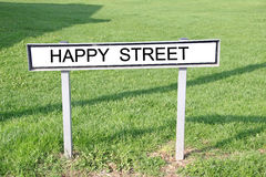 Happy street road sign Stock Photography