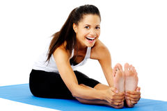 Happy stretching yoga woman Royalty Free Stock Photos
