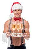 Happy stripper as a the waiter Stock Photos